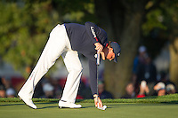 Phil Mickelson (Team USA) on the 2nd green during the Saturday morning Foursomes at the Ryder Cup, Hazeltine national Golf Club, Chaska, Minnesota, USA.  01/10/2016<br /> Picture: Golffile | Fran Caffrey<br /> <br /> <br /> All photo usage must carry mandatory copyright credit (&copy; Golffile | Fran Caffrey)