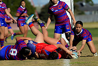 Action from the Auckland Rugby League Girls Pilot under-17 match between Otara Scorpions and Richmond at Ngati Otara Park in Auckland, New Zealand on Saturday, 9 June 2018. Photo: Dave Lintott / lintottphoto.co.nz