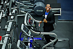 "A Runner disguised as Barack Obama takes part during the ""Run up to the Election"" at New York Sport Club Gym in New York, United States. 08/10/2012. The second 2012 Presidential debate at Hofstra University will take place on Thursday night. Photo by Eduardo Munoz/ VIEWpress."
