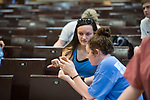 Students in associate professor of physics and astronomy Cecille Labuda's physics class take the final exam. Photo by Kevin Bain/University Communications Photography.