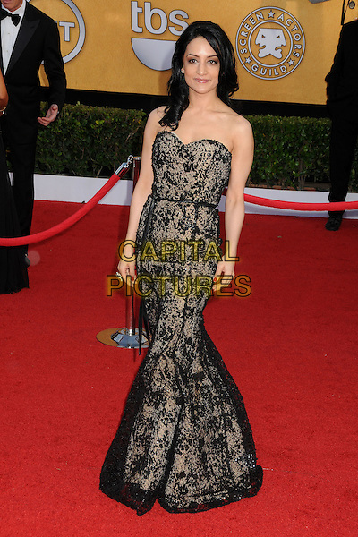 ARCHIE PANJABI.17th Annual Screen Actors Guild Awards held at The Shrine Auditorium, Los Angeles, California, USA..January 30th, 2011.SAG arrivals full length black dress beige lace strapless .CAP/ADM/BP.©Byron Purvis/AdMedia/Capital Pictures.