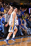BROOKINGS, SD - MARCH 27:  Hannah Strop #14 from South Dakota State University reacts after knocking down a three pointer to put the Jacks up by none against the University of Minnesota in the second half of their sweet sixteen gameThursday night at Frost Arena in Brookings. (Photo by Dave Eggen/Inertia)