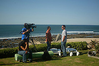 JOEL PARKINSON (AUS) being interviewed for the contest webcast during the 2003  Billabong Pro at Jeffreys Bay South Africa which was won by KELLY SLATER (USA) r.Photo: joliphotos.com