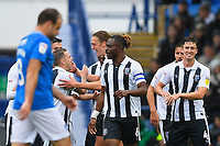 Tom Eaves of Gillingham is congratulated after scoring the first goal as Brett Pitman of Portsmouth left looks less than happy during Portsmouth vs Gillingham, Sky Bet EFL League 1 Football at Fratton Park on 6th October 2018
