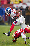New York Giants defensive back Will Blackmon (36) returns a kick during an NFC Championship NFL football game against the San Francisco 49ers on January 22, 2012 in San Francisco, California. The Giants won 20-17 in overtime. (AP Photo/David Stluka)