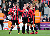 3rd December 2017, Vitality Stadium, Bournemouth, England; EPL Premier League football, Bournemouth versus Southampton; Ryan Fraser of Bournemouth celebrates scoring his sides first goal of the game with Andrew Surman of Bournemouth, Lewis Cook of Bournemouth and Jermain Defoe of Bournemouth
