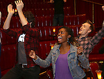 Denee Benton, Josh Groban and Josh Canfield during the Broadway Opening Night Actors' Equity Gypsy Robe Ceremony honoring Katrina Yaukey  for  'Natasha, Pierre & The Great Comet Of 1812' at The Imperial Theatre on November 14, 2016 in New York City.