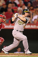 Oakland Athletics infielder Eric Sogard #36 bats against the Los Angeles Angels at Angel Stadium on September 24, 2011 in Anaheim,California. Los Angeles defeated Oakland 4-2.(Larry Goren/Four Seam Images)