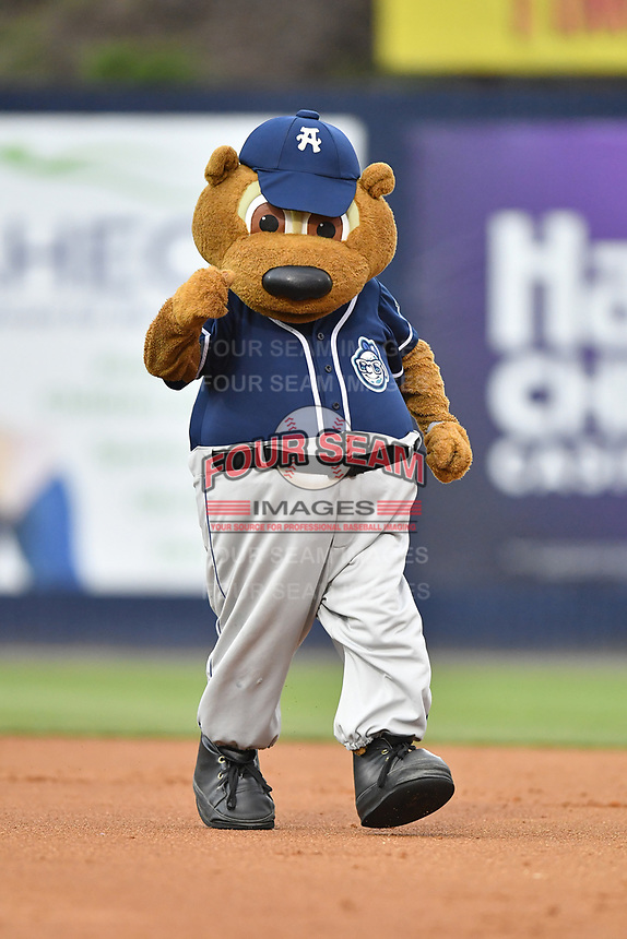 Asheville Tourists mascot Ted E Tourist runs the bases during a game against the West Virginia Power at McCormick Field on April 18, 2019 in Asheville, North Carolina. The Power defeated the Tourists 12-7. (Tony Farlow/Four Seam Images)