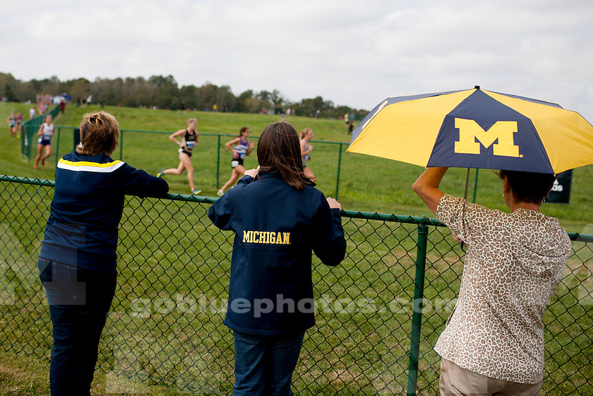 Michigan fans cheer on runners at the Indiana State Pre-National Cross Country Invitational on Saturday, Oct. 15, 2016, in Terre Haute, Indiana. (Photo by James Brosher)