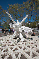 """Babel Waste Capital"" constructed of styrofoam packaging, by Terreform ONE at the ""Ideas City"" street festival in the Lower East Side of New York on Saturday, May 4, 2013. The festival organized by the New Museum, explores the future of cities with exhibits from groups involved in the arts, education and the environment all presenting their avant-garde ideas.  (© Richard B. Levine)"
