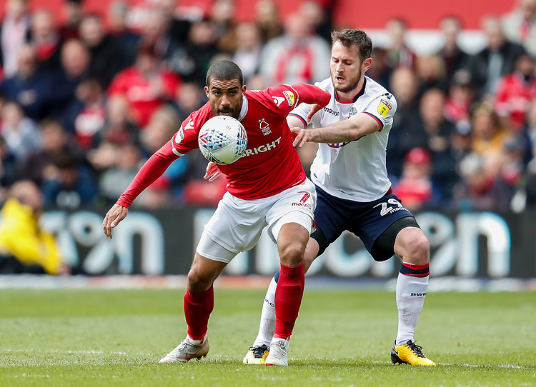 Bolton Wanderers' Jonathan Grounds competing with Nottingham Forest's Lewis Grabban <br /> <br /> Photographer Andrew Kearns/CameraSport<br /> <br /> The EFL Sky Bet Championship - Nottingham Forest v Bolton Wanderers - Sunday 5th May 2019 - The City Ground - Nottingham<br /> <br /> World Copyright © 2019 CameraSport. All rights reserved. 43 Linden Ave. Countesthorpe. Leicester. England. LE8 5PG - Tel: +44 (0) 116 277 4147 - admin@camerasport.com - www.camerasport.com