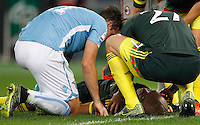 Calcio, Serie A: Lazio vs Milan. Roma, stadio Olimpico, 1 novembre 2015.<br /> AC Milan's Alex, bottom, is assisted by Lazio's Miroslav Klose, left, and AC Milan's Jurai Kucka, after getting injured during the Italian Serie A football match between Lazio and Milan at Rome's Olympic stadium, 1 November 2015.<br /> UPDATE IMAGES PRESS/Riccardo De Luca