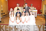 FIRST COMMUNION: The pupils of Scoil Nuachabhail who made their First Holy Communion at St Brendan's Church, Clogher with Fr Pat Crean-Lynch and their teacher Michael Bolger on Saturday pictured Fr Pat Crean-Lynch, Michael Bolger, Fiona O'Connor, Eoin Culloty, Eoghan Leahy, Darragh Brosnan, Amy Pollmana-Daamen, Millie Luck, Niamh Rahilly, Eve Creedon and Danelle O'Donghue.
