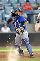 Dunedin Blue Jays catcher Santiago Nessy (43) throws down to first during a game against the Tampa Yankees on June 28, 2014 at George M. Steinbrenner Field in Tampa, Florida.  Tampa defeated Dunedin 5-2.  (Mike Janes/Four Seam Images)