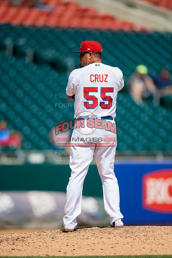 Buffalo Bisons relief pitcher Rhiner Cruz (55) gets ready to deliver a pitch during a game against the Pawtucket Red Sox on June 28, 2018 at Coca-Cola Field in Buffalo, New York.  Buffalo defeated Pawtucket 8-1.  (Mike Janes/Four Seam Images)