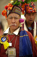 Costumes and jewelry of the Ladakhi ethnic group called Stok is seen as they perform traditional folk dances