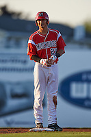Batavia Muckdogs first baseman Brad Haynal (23) on second after hitting a double during a game against the Williamsport Crosscutters on July 15, 2015 at Dwyer Stadium in Batavia, New York.  Williamsport defeated Batavia 6-5.  (Mike Janes/Four Seam Images)