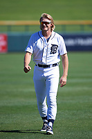 Mesa Solar Sox outfielder Cam Gibson (3), of the Detroit Tigers organization, warms up in the outfield prior to an Arizona Fall League game against the Scottsdale Scorpions on October 24, 2017 at Sloan Park in Mesa, Arizona. The Scorpions defeated the Solar Sox 3-1. (Zachary Lucy/Four Seam Images)