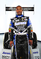 Jan. 8, 2012; Brownsburg, IN, USA; NHRA top fuel dragster driver Antron Brown poses for a portrait during a photo shoot at the Don Schumacher Racing shop.  Mandatory Credit: Mark J. Rebilas-