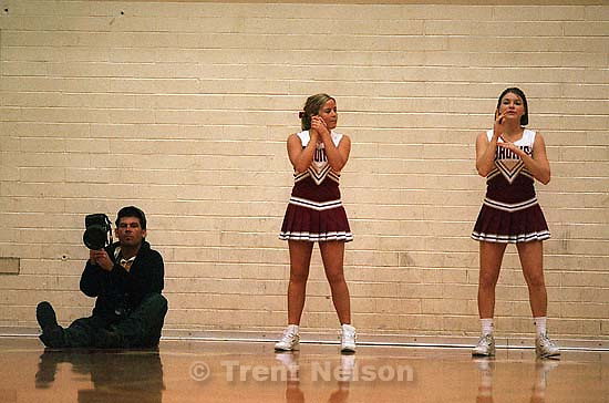 Kevin Lee and cheerleaders at Mountain View vs. Timpview<br />