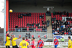Dagenham and Redbridge 1 Burton Albion 3, 21/02/2015. Victoria Road, League Two. Sparse home support make for the exits. Burton Albion moved to the top of League Two following a hard-fought win over Dagenham & Redbridge played in-front of 1,718 supporters. Photo by Simon Gill.