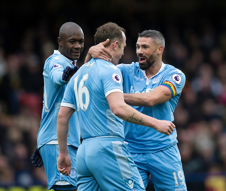 Stoke City's Charlie Adam (centre) celebrates scoring the opening goal with team mate Jonathan Walters (right)   Photographer Craig Mercer/CameraSport<br /> <br /> The Premier League - Watford v Stoke City - Sunday 27th November 2016 - Vicarage Road - Watford<br /> <br /> World Copyright &copy; 2016 CameraSport. All rights reserved. 43 Linden Ave. Countesthorpe. Leicester. England. LE8 5PG - Tel: +44 (0) 116 277 4147 - admin@camerasport.com - www.camerasport.com