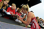 ENG - London, England, August 30: Alex DANSON #15 of England signs an autograph for a fan after the victory over The Netherlands in the gold medal match of the Unibet EuroHockey 2015 on August 30, 2015 at Lee Valley Hockey and Tennis Centre, Queen Elizabeth Olympic Park in London, England.  (Photo by Dirk Markgraf / www.265-images.com) *** Local caption ***