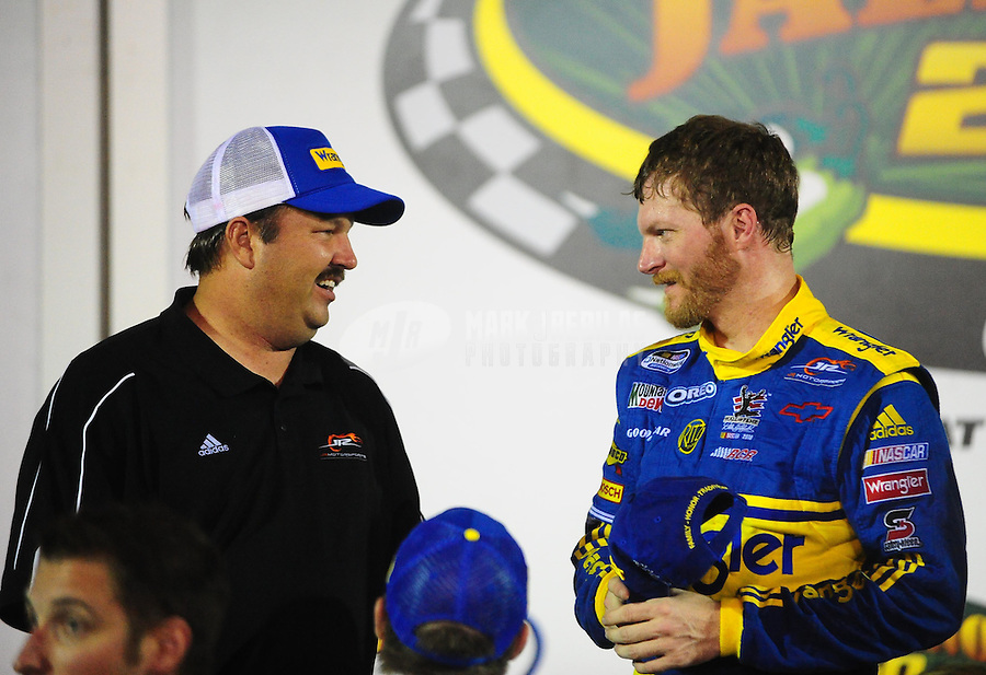 Jul. 2, 2010; Daytona Beach, FL, USA; NASCAR Nationwide Series driver Dale Earnhardt Jr (right) celebrates with crew chief Tony Eury Jr in victory lane after winning the Subway Jalapeno 250 at Daytona International Speedway. Mandatory Credit: Mark J. Rebilas-