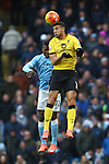 Rudy Gestede of Aston Villa wins a header - Barclay's Premier League - Manchester City vs Aston Villa - Etihad Stadium - Manchester - 05/03/2016 Pic Philip Oldham/SportImage
