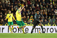 Willian of Chelsea under pressure from Timm Klose of Norwich City during Norwich City vs Chelsea, Emirates FA Cup Football at Carrow Road on 6th January 2018