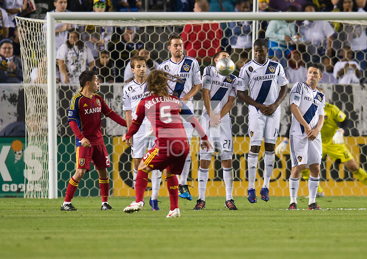 CARSON, CA - March 10,2012: LA Galaxy defender Tommy Meyer (21) blocks a penalty kick against Real Salt Lake at the Home Depot Center in Carson, California. Final score LA Galaxy 1, Real Salt Lake 3.