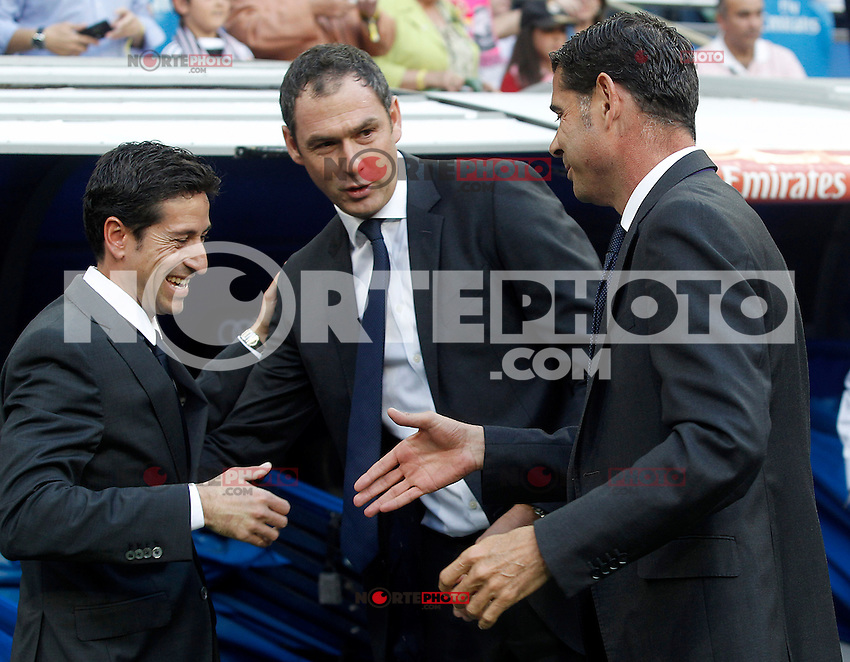 Real Madrid's Second Coachs Paul Clement (c) and Fernando Hierro (r) and Getafe's coach Pablo Franco during La Liga match. May 23,2015. (ALTERPHOTOS/Acero) /NortePhoto.com