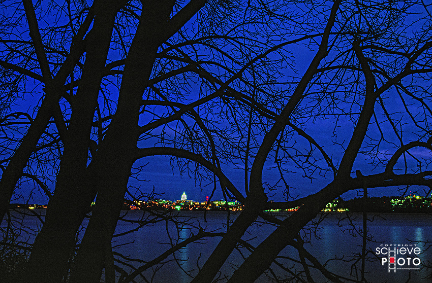 The Madison, Wisconsin skyline from Picnic Point on Lake Mendota.