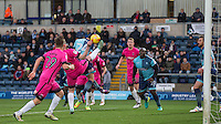 Scott Kashket of Wycombe Wanderers goes up against a high boot during the Sky Bet League 2 match between Wycombe Wanderers and Hartlepool United at Adams Park, High Wycombe, England on 26 November 2016. Photo by Andy Rowland / PRiME Media Images.