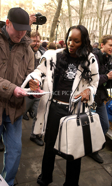 WWW.ACEPIXS.COM . . . . .  ....NEW YORK, FEBRUARY 4, 2005....Venus Williams exits Richard Tyler's show at Olympus Fashion Week in Bryant Park.....Please byline: Ian Wingfield - ACE PICTURES..... *** ***..Ace Pictures, Inc:  ..Philip Vaughan (646) 769-0430..e-mail: info@acepixs.com..web: http://www.acepixs.com