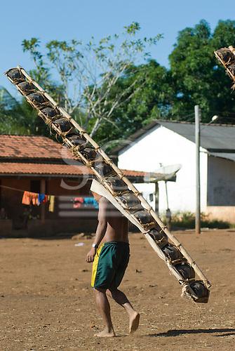 Pará State, Brazil. Aldeia Kokraimoro (Kayapo). The warriors arriving from hunting Jabuti land tortoises for the Festa de Jabuti.