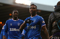 3rd November 2019; Hampden Park, Glasgow, Scotland; Scottish League Cup Football, Rangers versus Heart of Midlothian; Alfredo Morelos of Rangers celebrates pointing to the badge after he makes it 3-0 to Rangers in the 62nd minute