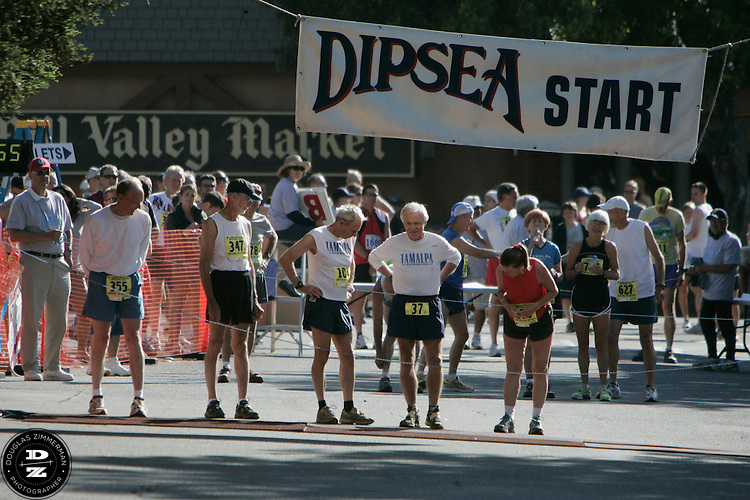 Runners line up at the 98th Dipsea Race starting line in downtown Mill Valley, Calif. enroute to Stinson Beach over Mt. Tamalapais  on Sunday, June 8, 2008.