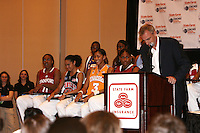 5 April 2008: Stanford Cardinal Candice Wiggins reacts after being named the State Farm Wade Trophy recipient during Stanford's 2008 NCAA Division I Women's Basketball Final Four Kodak/WBCA All-American Team announcement and State Farm Wade Trophy presentation at the Hyatt Regency Tampa in Tampa Bay, FL.