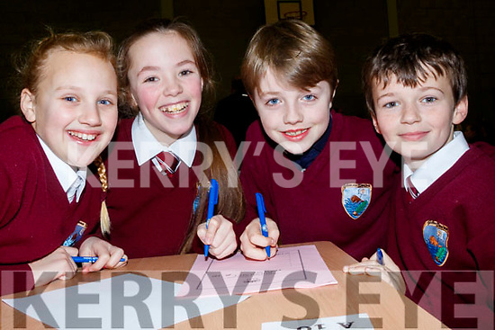 L-R Ciara O'Connor, Tia O'Sullivan, Adam Thornton and Fiona Griffin from Glenderry NS, taking part in the Clanmaurice Credit Union sponsored quiz last Sunday in Causeway Comprehensive school.