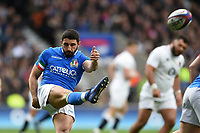 Tito Tebaldi of Italy box-kicks the ball. Guinness Six Nations match between England and Italy on March 9, 2019 at Twickenham Stadium in London, England. Photo by: Patrick Khachfe / Onside Images