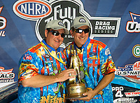 Sept. 6, 2010; Clermont, IN, USA; NHRA pro stock driver Greg Stanfield (right) celebrates with team owner Kenny Koretsky after winning the U.S. Nationals at O'Reilly Raceway Park at Indianapolis. Mandatory Credit: Mark J. Rebilas-