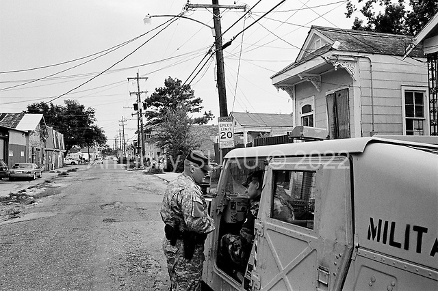 New Orleans, Louisiana.USA.July 29, 2006..The National Guard returns and patrols the streets of New Orleans after a wave of killings and people move back to the city following hurricane Katrina nearly one year ago...