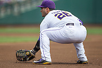 LSU Tigers first baseman Chris Chinea (26) on defense against the TCU Horned Frogs in the NCAA College World Series on June 14, 2015 at TD Ameritrade Park in Omaha, Nebraska. TCU defeated LSU 10-3. (Andrew Woolley/Four Seam Images)