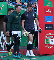 Schalk Brits of South Africa with Owen Farrell (captain) of England during the 2018 Castle Lager Incoming Series 2nd Test match between South Africa and England at the Toyota Stadium.Bloemfontein,South Africa. 16,06,2018 Photo by Steve Haag / stevehaagsports.com