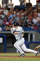 Ryan Gebhardt #7 of the Hillsboro Hops bats against the Spokane Indians at Hillsboro Ballpark on July 22, 2013 in Hillsboro Oregon. Spokane defeated Hillsboro, 11-3. (Larry Goren/Four Seam Images)