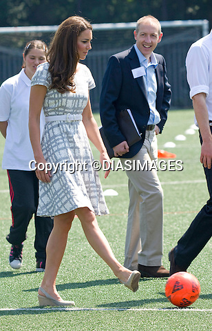"*** Minimum Fee Applies *** - Must Telephone +441279 324672..CATHERINE, DUCHESS OF CAMBRIDGE HAS  A KICK-A-BOUT.After a bit of coxing Kate decided to have a go at kicking a football..But with the first attempt seeeing the ball hardly travel, she decided to have another go with guidance from hubby Prince William..The second attempt saw the ball go further. The Prince himself at earlier had an attempt at goal. The royal couple were joined by Prince Harry at Bacon's College, South London for the sports-themed event, to launch the Coach Core programme, a partnership bewteen their Foundation and Greenhouse_19/07/2012.Mandatory credit photo: ©Dias/DIASIMAGES..(Failure to credit will incur a surcharge of 100% of reproduction fees)..                **ALL FEES PAYABLE TO: ""NEWSPIX INTERNATIONAL""**..IMMEDIATE CONFIRMATION OF USAGE REQUIRED:.DiasImages, 31a Chinnery Hill, Bishop's Stortford, ENGLAND CM23 3PS.Tel:+441279 324672  ; Fax: +441279656877.Mobile:  07775681153.e-mail: info@newspixinternational.co.uk"