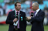 PRETORIA, SOUTH AFRICA - OCTOBER 06: <br /> Justin Marshall rugby commentator with Jeff Wilson rugby commentator during the Rugby Championship match between South Africa Springboks and New Zealand All Blacks at Loftus Versfeld Stadium. on October 6, 2018 in Pretoria, South Africa. Photo: Steve Haag / stevehaagsports.com