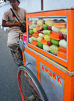 fruit seller in the streets of Yogyakarta, island Java, archipelago of Indonesia,  September 2011